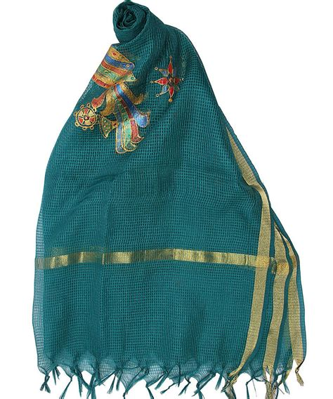 Free Self Background Check Buy Womens Cottage Sea Green Chanderi With Self Checks Painted Parrots Motifs