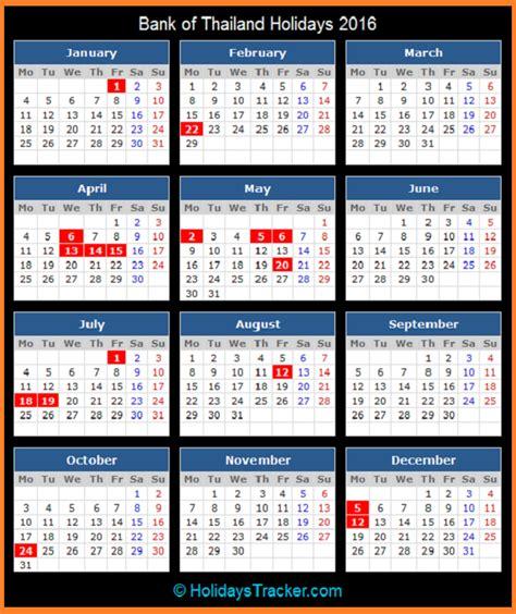 printable calendar 2016 thailand bank of thailand holidays 2016 holidays tracker