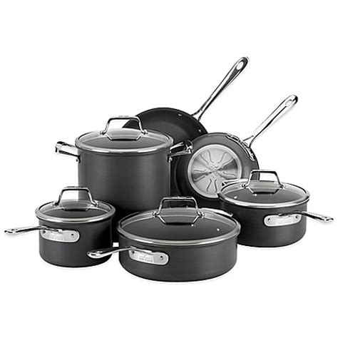 bed bath and beyond wok all clad b1 hard anodized nonstick 10 piece cookware set