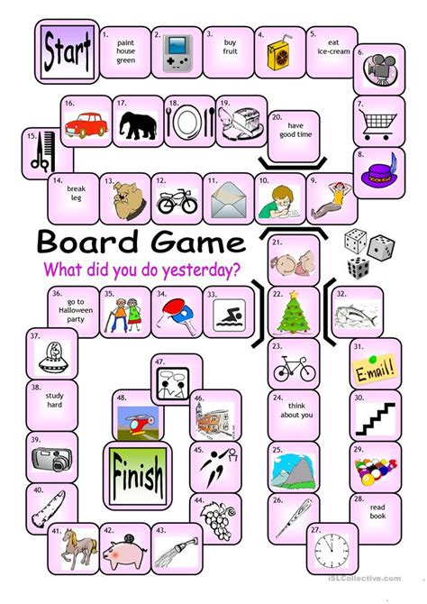 printable grammar card games board game what did you do yesterday worksheet free