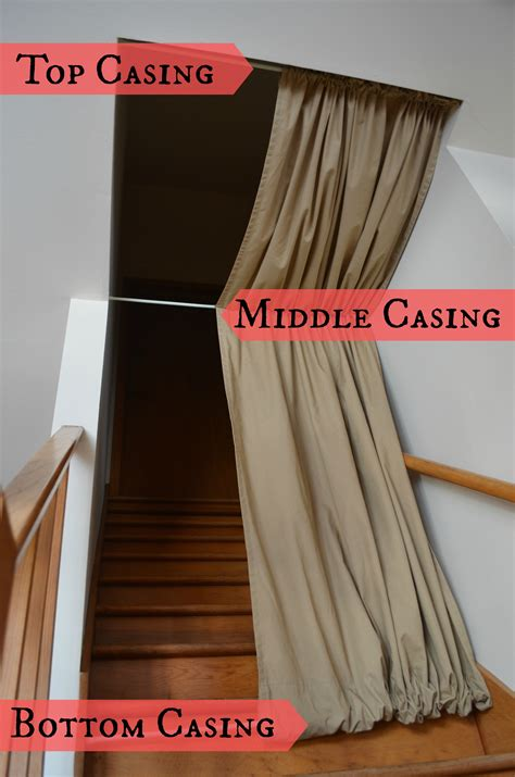 curtains with rods on top and bottom diy stairwell curtain dandelion discoveries