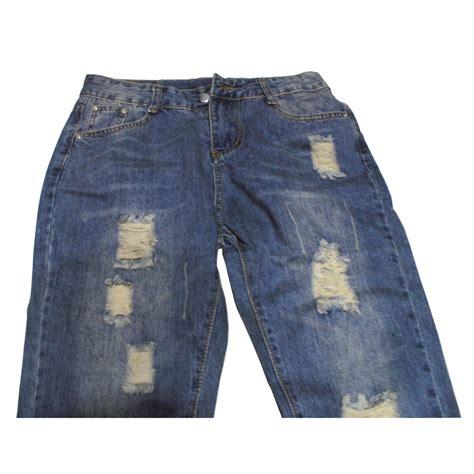 Celana Wanita Denim celana wanita nine holes denim size l blue
