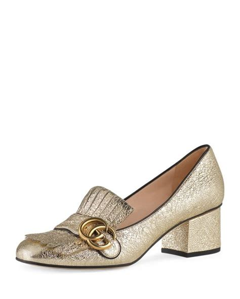 Shoes Gucci 520 10 Semprem gucci marmont leather loafer pumps in gold lyst
