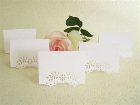 dinner name cards 100 blank wedding placecards eyelet vine lace tent