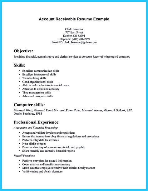 accounts receivable resume presents both skills and also the strengths of the candidate in
