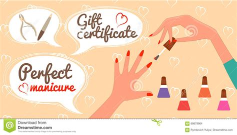 gift certificate perfect manicure nail salon stock vector
