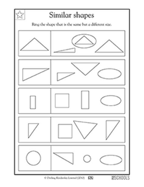 Similar Shapes Worksheet by 1st Grade Kindergarten Math Worksheets Similar Shapes