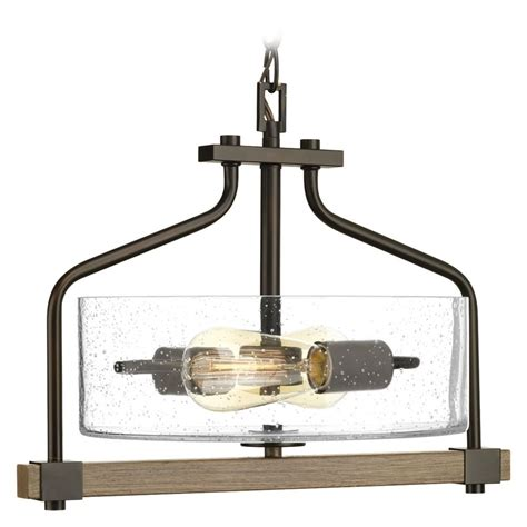progress lighting seeded glass pendant industrial seeded glass pendant light bronze wood