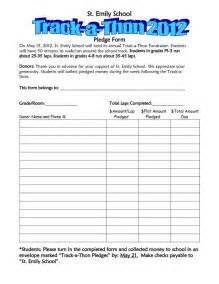charity pledge form template school walk a thon pledge track a thon pledge form pta