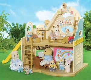Card Table And Chairs Set Sylvanian Families Rainbow Nursery With 2 Free Figures