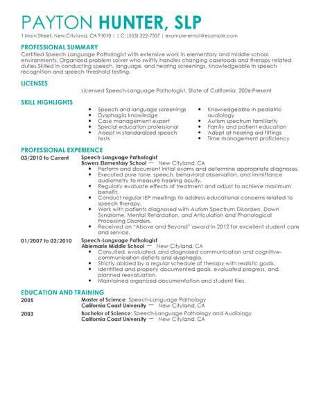 Speech Therapy Resume Objective by Best Speech Language Pathologist Resume Exle Livecareer