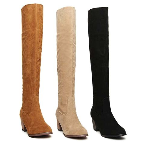 courtlike brown suede thigh high chunky heels boots swb20383