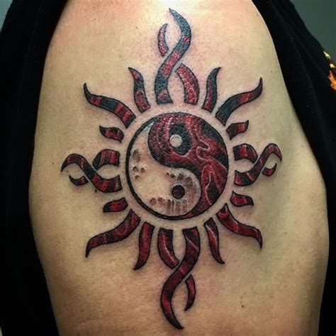 godsmack tattoo godsmack sun with a yin yang and smoke no problem