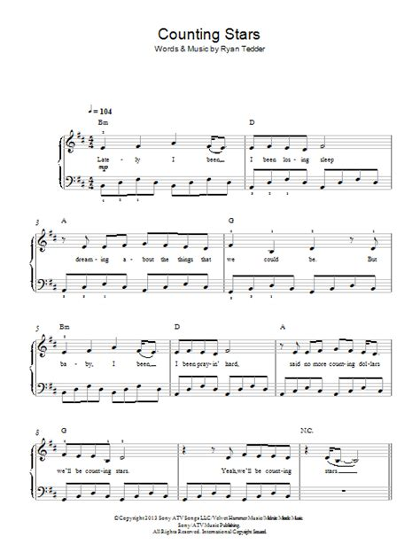counting stars keyboard tutorial easy counting stars sheet music direct
