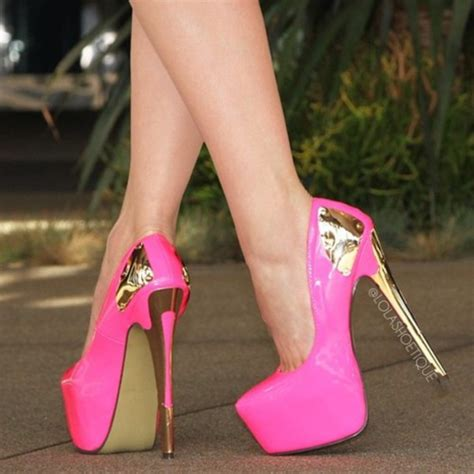 Heels Pink shoes pink neon pink high heels plateau gold gold