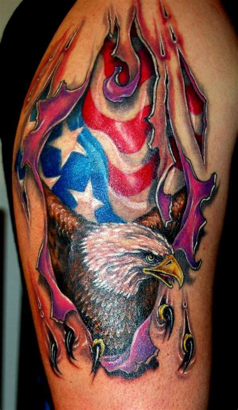 american flag ripped skin tattoo eagle ripping skin rate my ink pictures designs