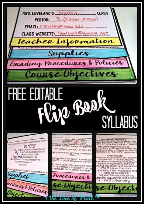 Back To School Editable Flip Book All Things Interactive Notebooks Middle School Syllabus Free Editable Flip Book Template