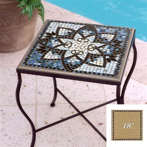 Mosaic Patio Table Top Knf Garden Designs Knf Mosaic Top 18 Quot Square