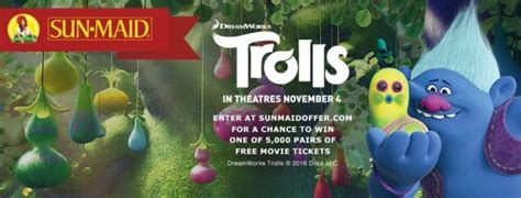 Sun Maid Sweepstakes - this sun maid offer is your chance to win movie tickets to see trolls