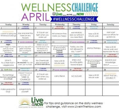 April Wellness Challenge Live In The Now Live In The Now Workplace Fitness Challenge Template