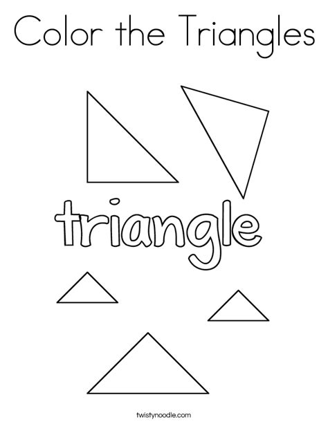 color the triangles coloring page twisty noodle