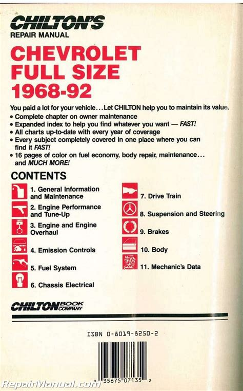 auto repair manual online 1992 chevrolet caprice navigation system used chilton chevrolet full size cars 1968 1992 repair manual
