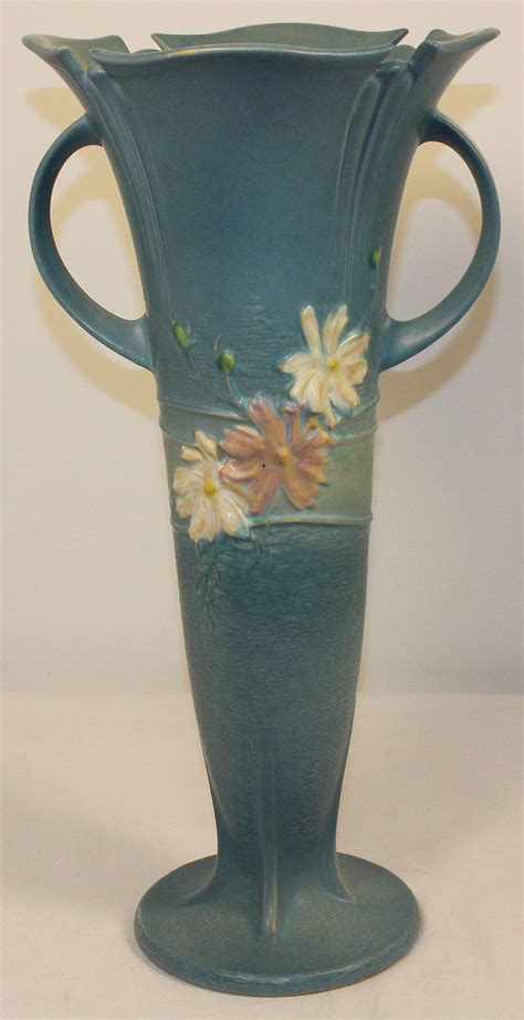 Value Of Roseville Pottery Vases by Roseville Pottery Cosmos Blue Floor Vase 958 18 For Sale