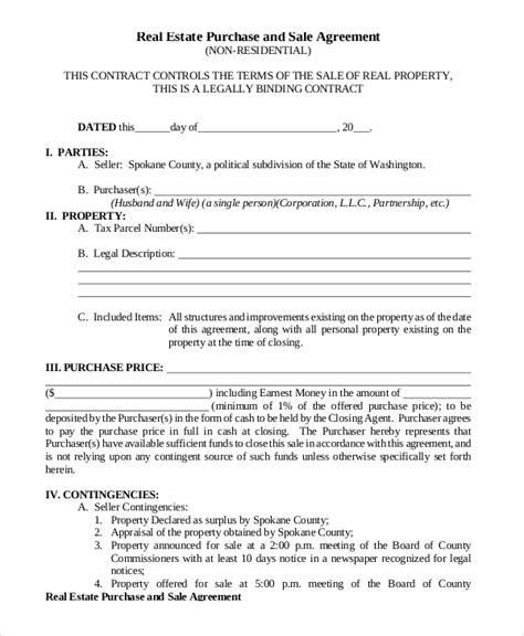 8 Sle Purchase And Sale Agreements Sle Templates Real Estate Purchase Contract Template Free