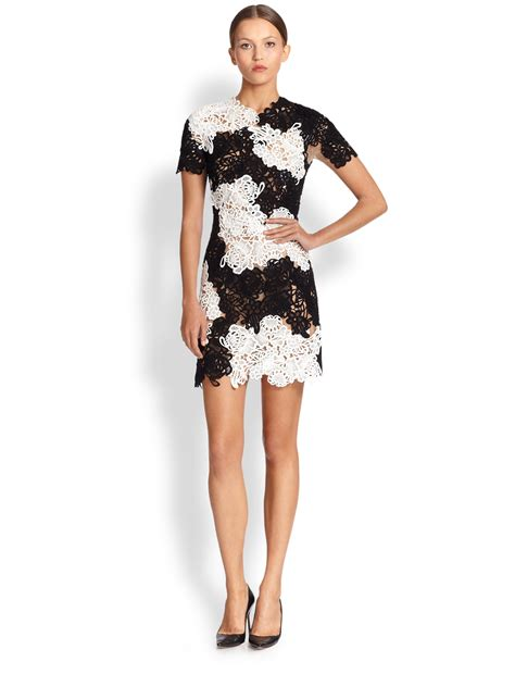 21867 Blackwhite Lace lyst erdem nadene sleeve guipure lace dress in white