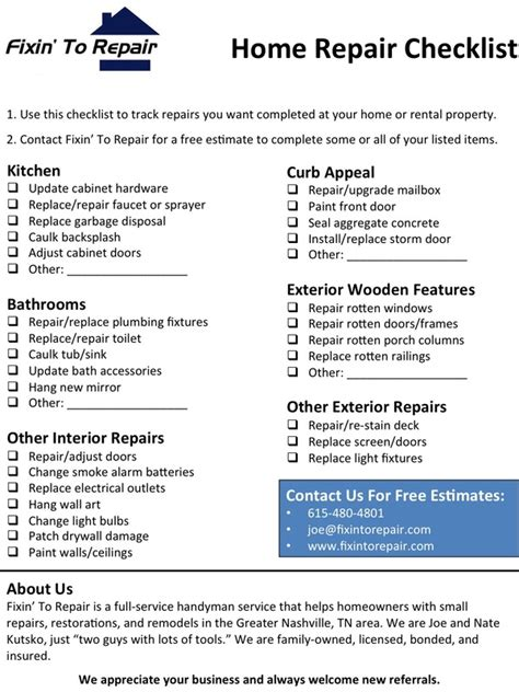 home repair checklist template home repair checklist nashville brentwood
