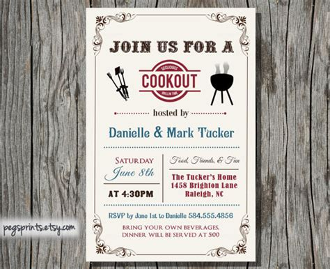 cookout invitation summer family bbq printable by pegsprints