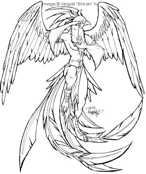 phoenix bird colouring pages