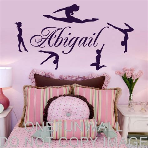 personalized wall decor for home personalized name gymnasts vinyl wall decal gymnastics