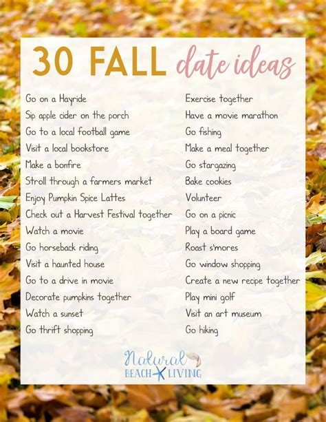 9 Fall Date Ideas by Free Printable List For Fall 32 Fall Ideas