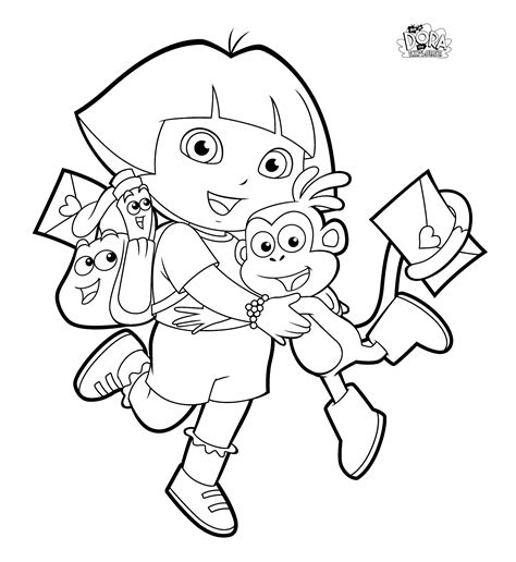 dora valentine coloring pages dora coloring pages backpack diego boots swiper print