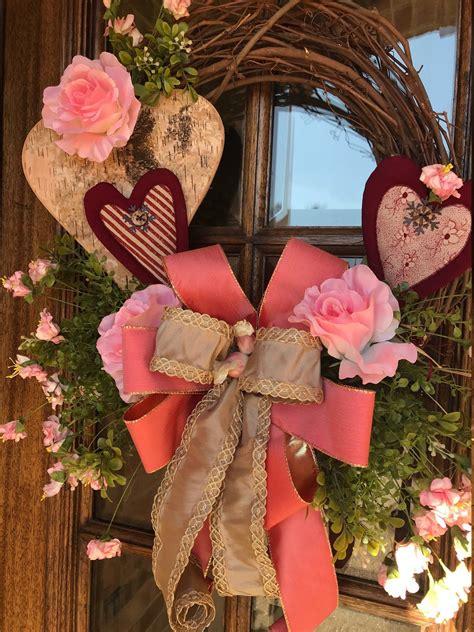 valentine wreath heart wreath front door decor rustic