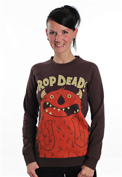 Sweater Droprdead Hoamnavy drop dead excited brown sweater impericon worldwide