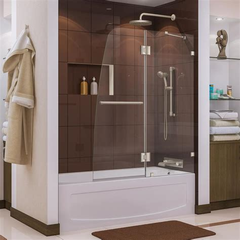 bathtub shower doors frameless shop dreamline aqua lux 48 in w x 58 in h frameless