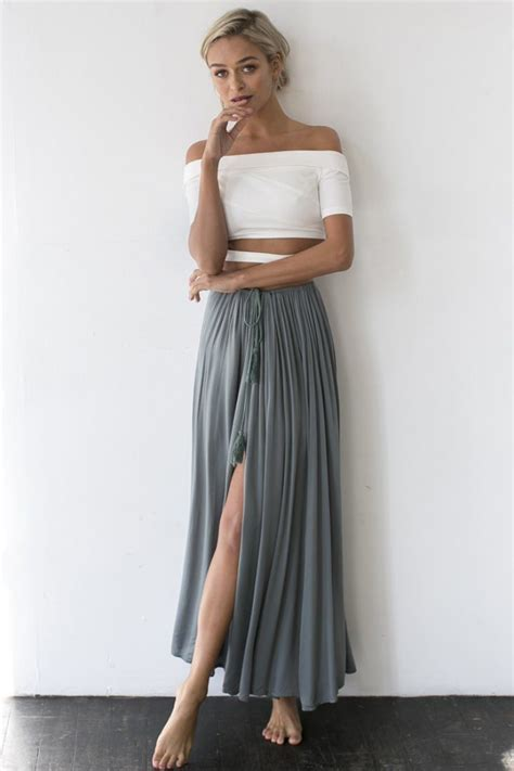 a full length printed skirt gets a touch of luxe via a 25 best ideas about grey maxi skirts on pinterest gray