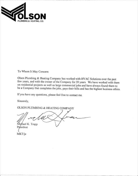Reference Letter Contractor Template Letters Of Recommendation Hvac Solutions