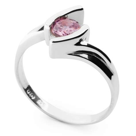sterling silver ring with pink cubic zirconia harry fay