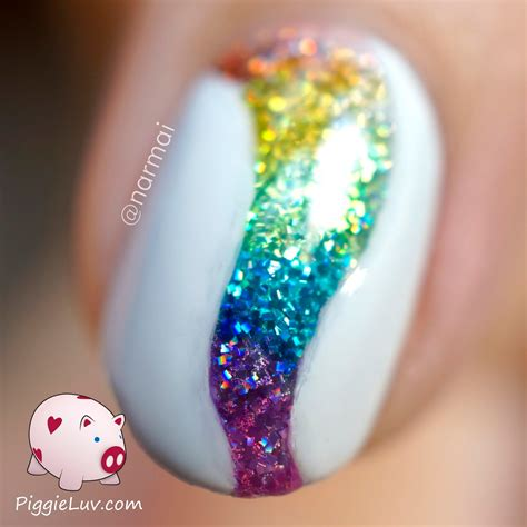 2 color nail piggieluv glitter tornado nail with opi color paints