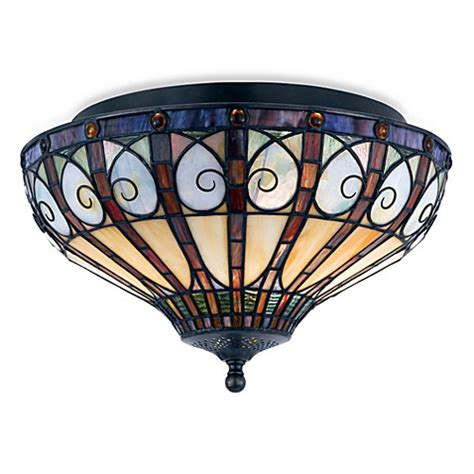 Buy Quoizel 174 Tiffany Style 2 Light Stained Glass Flush Stained Glass Flush Mount Ceiling Light