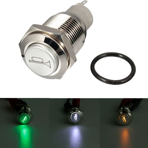 New 12v 16mm Waterproof Momentary Horn Metal Push Button Lighted For