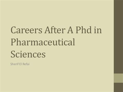 Mba After Phd In Sciences by Phd Pharmaceutical Sciences Career Options