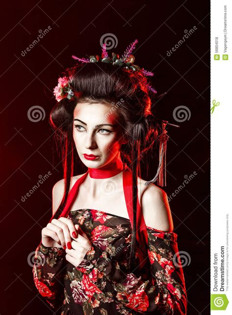 geisha hairstyles portrait of a geisha with hair and makeup kabuki stock