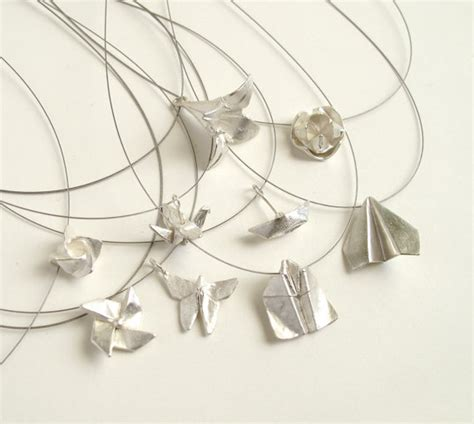 Origami Pendant Necklace - origami necklace origami bat airplane sterling silver airplane