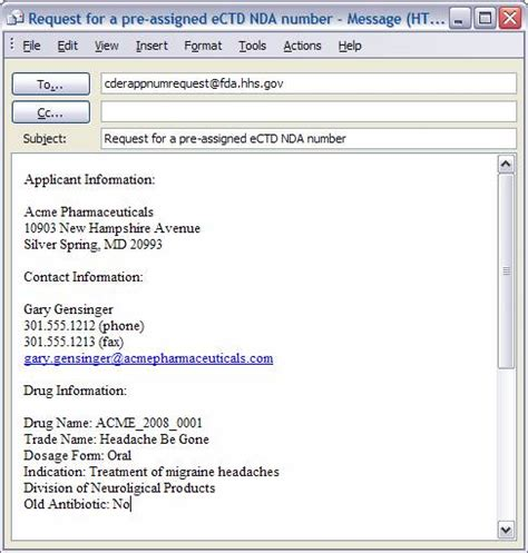 request email template requesting a pre assigned application number ectd tips