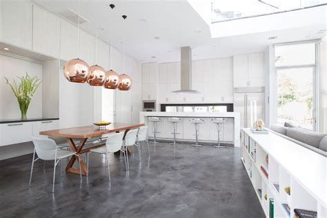 stained concrete floors for a modern basement with a polished concrete and stained concrete