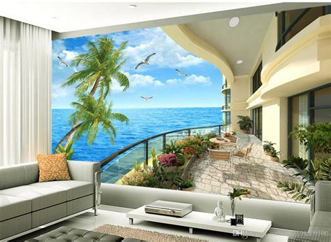 Modern Wall Mural high quality customize size modern mediterranean villa